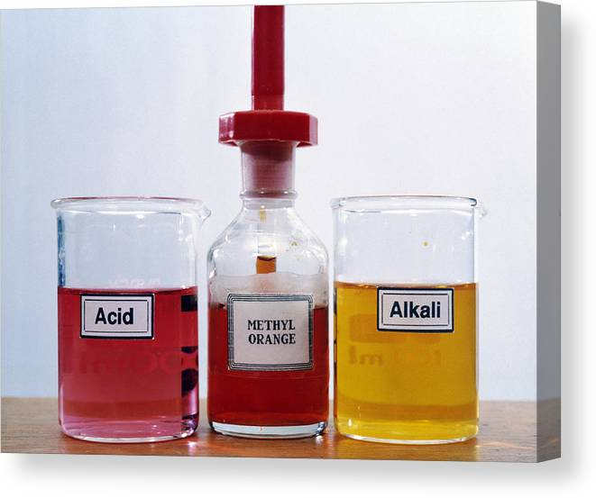 Acid Canvas Print featuring the photograph Methyl Orange Indicator by Andrew Lambert Photography