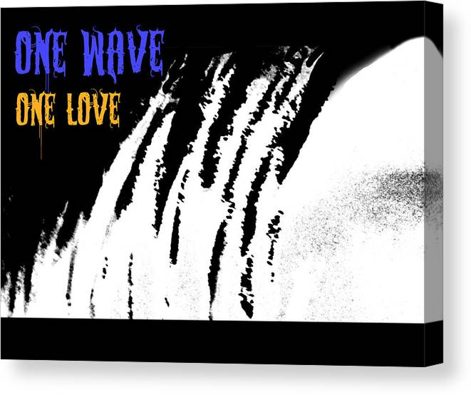 Canvas Print featuring the painting One Wave One Love by Wendy Wiese