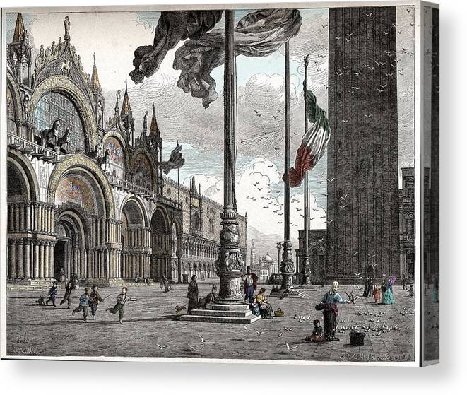 Engraving Canvas Print featuring the digital art Piazza San Marco In Venice by Raffaella Lunelli