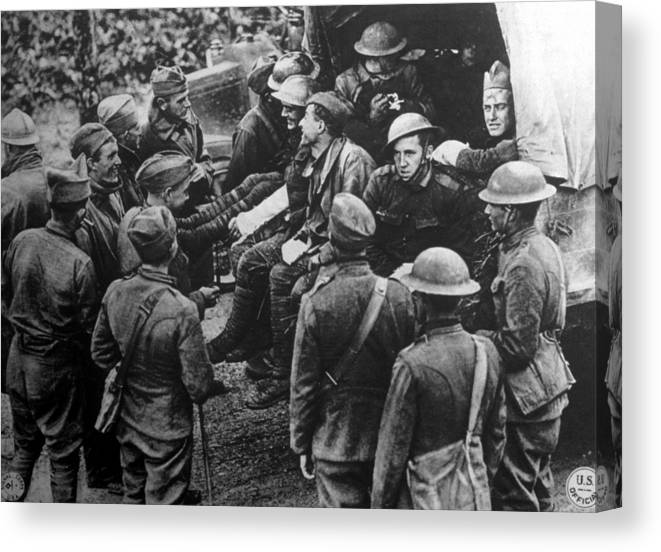 1910s Canvas Print featuring the photograph World War I, Wounded American Soldiers by Everett
