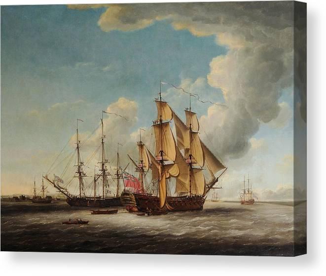 John Cleveley The Elder (1712-1777) - Two 32-gun Frigates Receiving Their Captains Canvas Print featuring the painting Frigates Receiving Their Captains by MotionAge Designs