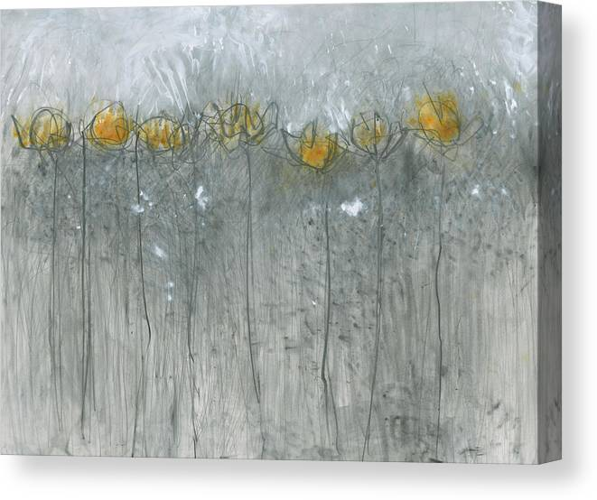 Gestural Lines Canvas Print featuring the painting Make Way For Ducklings by Christine Alfery