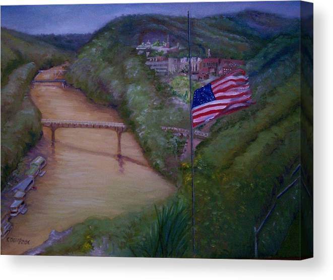 Flag Canvas Print featuring the painting Muddy River by Karen Thompson
