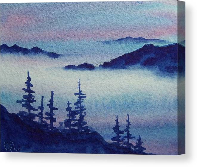 Landscape Canvas Print featuring the painting 10 Mile Overlook by Conni Reinecke