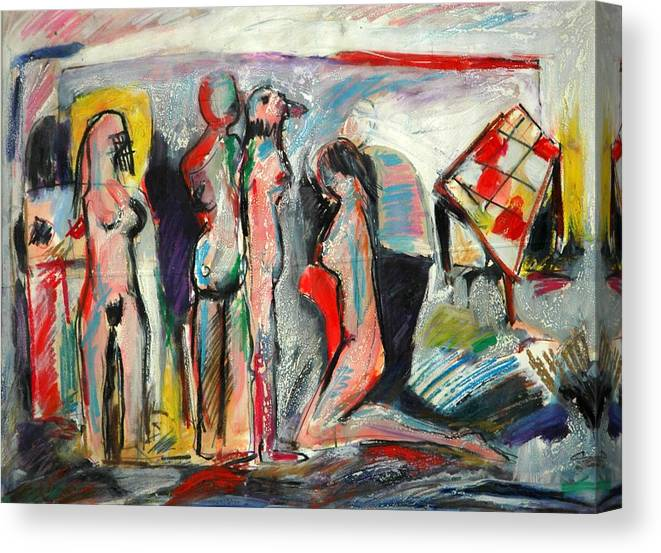 Figures-abstract-explainable Canvas Print featuring the painting Painting by Ibrahim El tanbouli