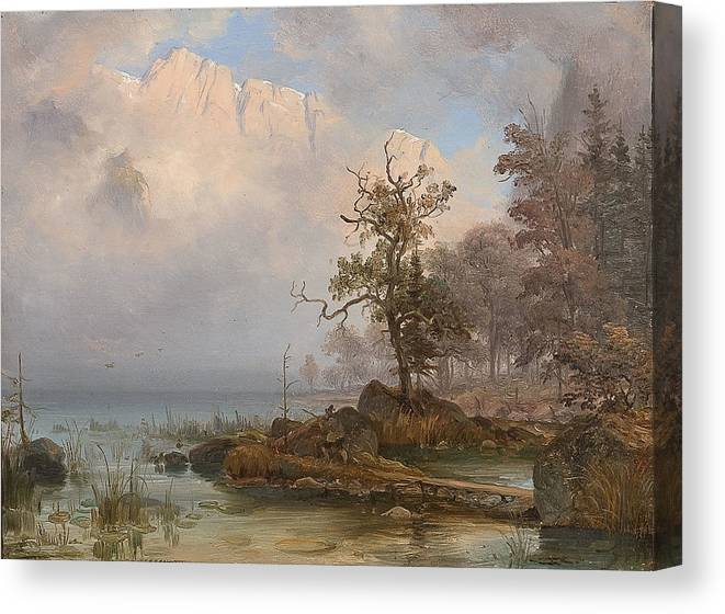 Fearnley Canvas Print featuring the painting Duck Hunter by Thomas