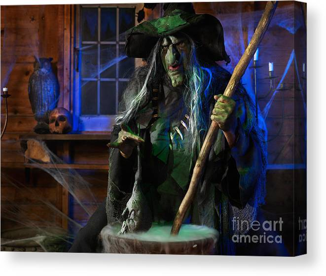 Witch Canvas Print featuring the photograph Scary Old Witch With A Cauldron by Oleksiy Maksymenko