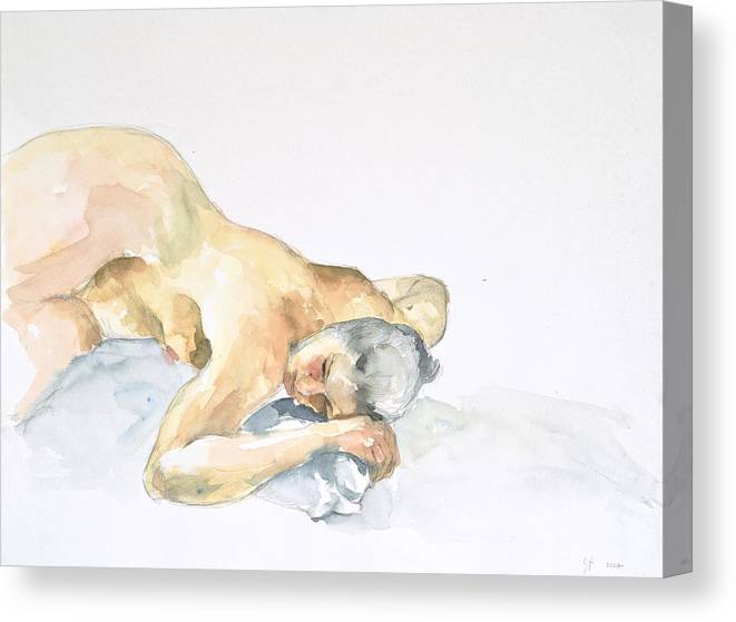 Nude Woman Canvas Print featuring the painting Nude Series by Eugenia Picado
