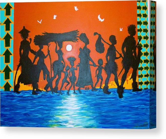 Malik Seneferu Canvas Print featuring the painting Uhuru Series by Malik Seneferu
