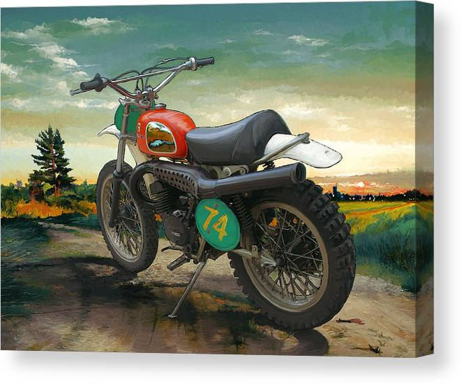 Motorcycle Canvas Print featuring the mixed media '74 Husky by Antoinette Houtman