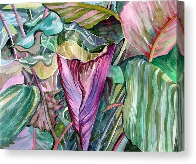 Garden Canvas Print featuring the painting A Light In The Garden by Mindy Newman