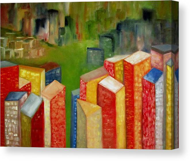 Original Oil Cityscape Canvas Print featuring the painting Abstract Cityscape Project Series II by Patricia Cleasby