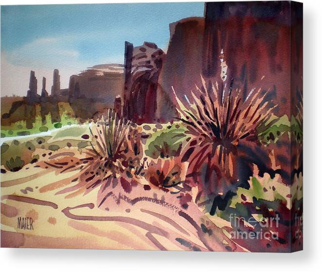 Monument Valley Canvas Print featuring the painting Across Monument Valley by Donald Maier