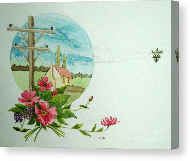 Watercolour Canvas Print featuring the painting Across The Miles by Jacqui Kilcoyne