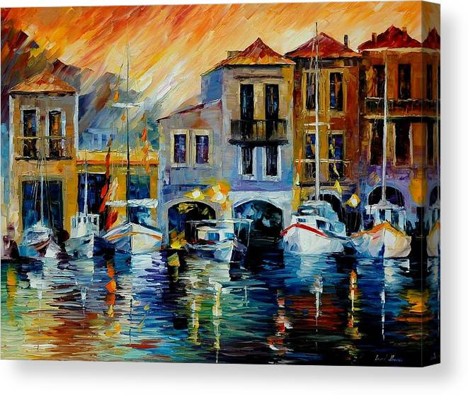 Afremov Canvas Print featuring the painting After A Day's Work by Leonid Afremov