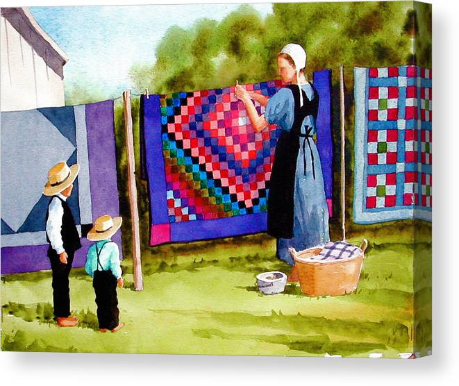 Amish Canvas Print featuring the painting Airing The Quilts by Faye Ziegler