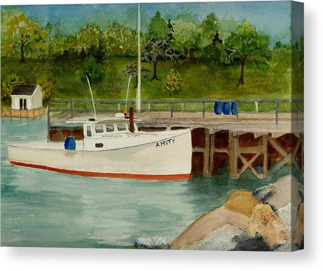 Lobster Canvas Print featuring the painting Amity At Round Pond by Peggy Bergey