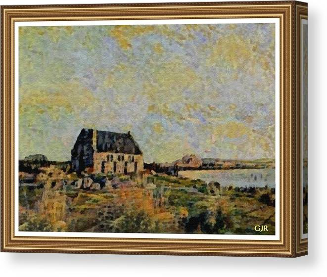 Amsterdam Canvas Print featuring the digital art An Old Scottish Cottage Overlooking A Loch L A S With Decorative Ornate Printed Frame. by Gert J Rheeders