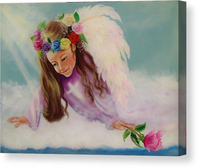 Oil Painting Canvas Print featuring the painting Angel Above by Joni McPherson