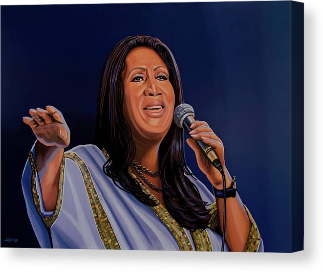 Aretha Franklin Canvas Print featuring the painting Aretha Franklin Painting by Paul Meijering