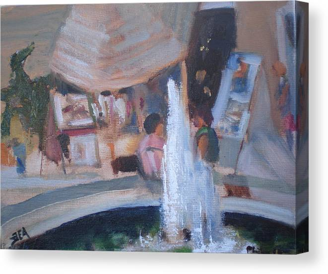 Carlsbad Village Fountain Canvas Print featuring the painting Art Faire by Bryan Alexander