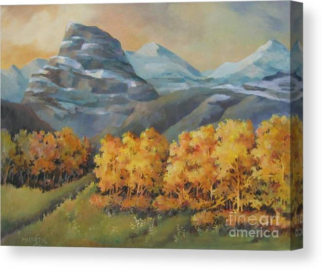 Landscape Canvas Print featuring the painting Autumn At Kananaskis by Marta Styk