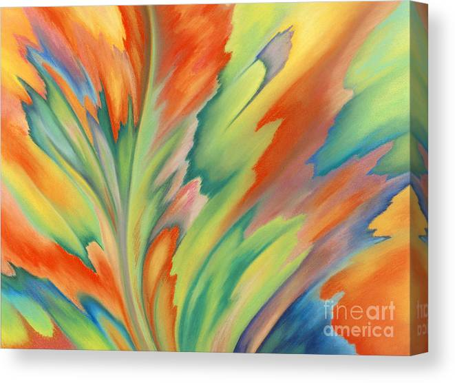 Abstract Canvas Print featuring the painting Autumn Flame by Lucy Arnold