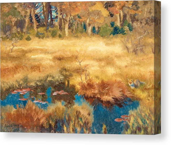 Swedish Art Canvas Print featuring the painting Autumn Landscape With Fox by Bruno Liljefors