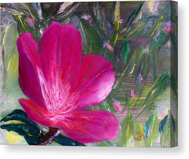 Flower Canvas Print featuring the painting Azalea by Tony Rodriguez