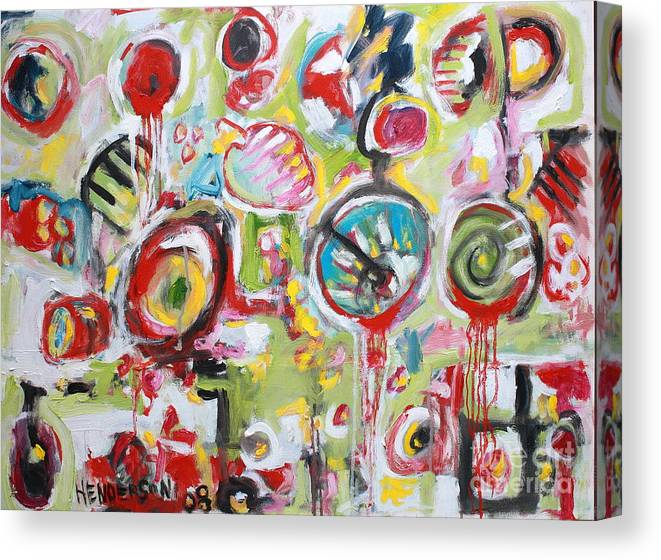 Abstract Painting Canvas Print featuring the painting Basket Of Fruit by Michael Henderson