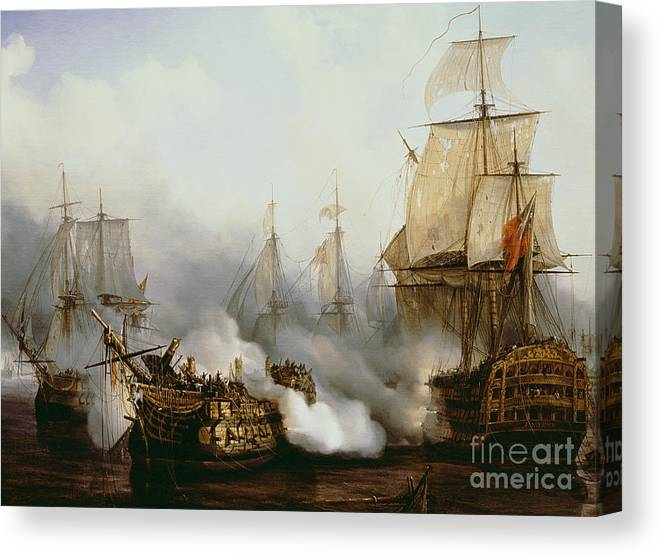 Battle Of Trafalgar (1805) (oil On Canvas) By Louis Philippe Crepin (1772-1851) Canvas Print featuring the painting Battle Of Trafalgar by Louis Philippe Crepin
