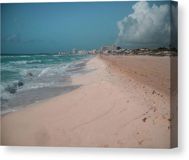 Beach Canvas Print featuring the digital art Beautiful Beach In Cancun, Mexico by Nicolas Gabriel Gonzalez