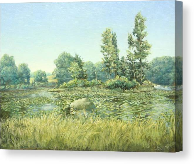 Landscape Canvas Print featuring the painting Beavor Pond by Stephen Bluto