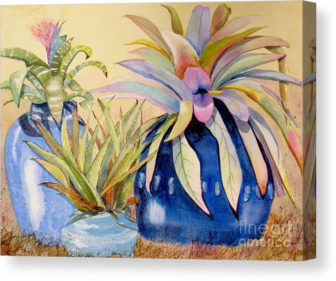 Succulents Canvas Print featuring the painting Blue Pots by Midge Pippel