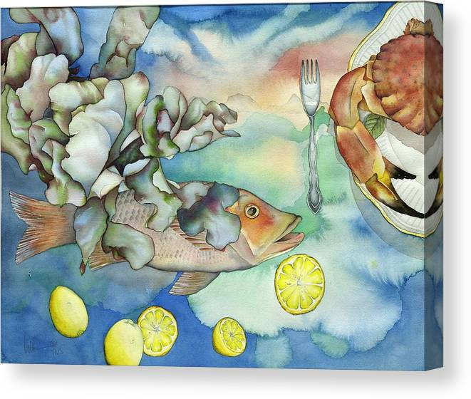 Sealife Canvas Print featuring the painting Bon Appetit Together Left Image by Liduine Bekman