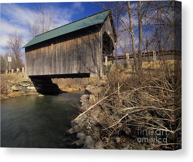 Bridge Canvas Print featuring the photograph Brownsville Covered Bridge - Brownsville Vermont by Erin Paul Donovan