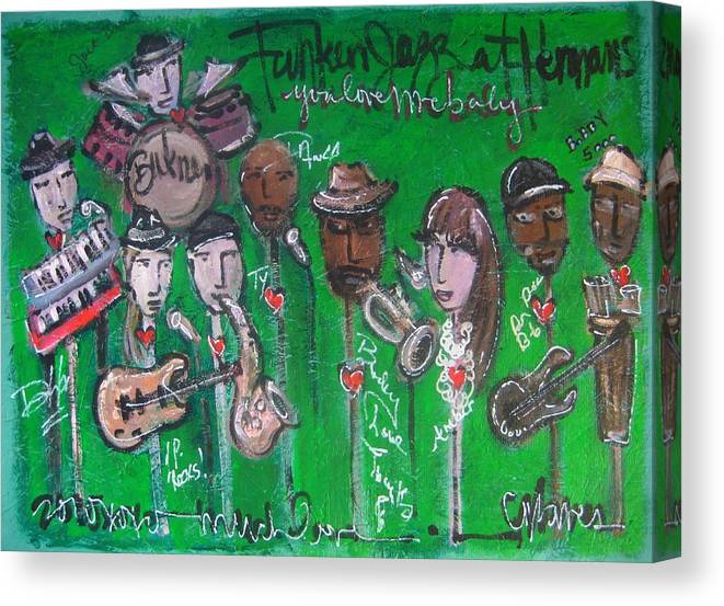 Buckner Funken Jazz Canvas Print featuring the painting Buckner Funken Jazz by Laurie Maves ART