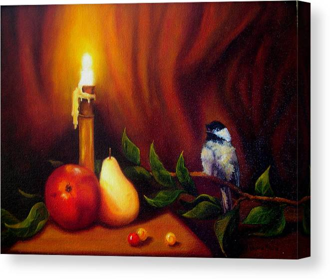 Chickadee Canvas Print featuring the painting Candle Light Melody by Valerie Aune