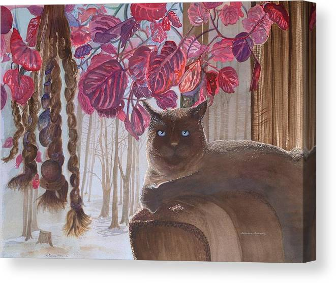 Cat Canvas Print featuring the painting Cat On A Foggy Day by Rebecca Marona