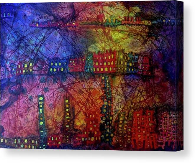 City Canvas Print featuring the painting Cave City by Isaac Alcantar