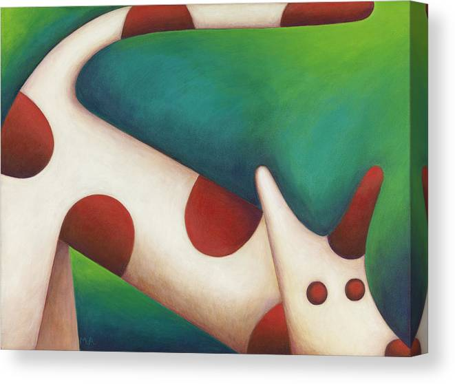 Whimsical Canvas Print featuring the painting Come Spot Come by Mary Anne Nagy