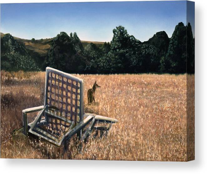 Animals Canvas Print featuring the painting Coyote And Rabbit by Lance Anderson