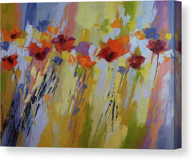 Poppies Canvas Print featuring the painting Dancing Ladies by Yvonne Ankerman