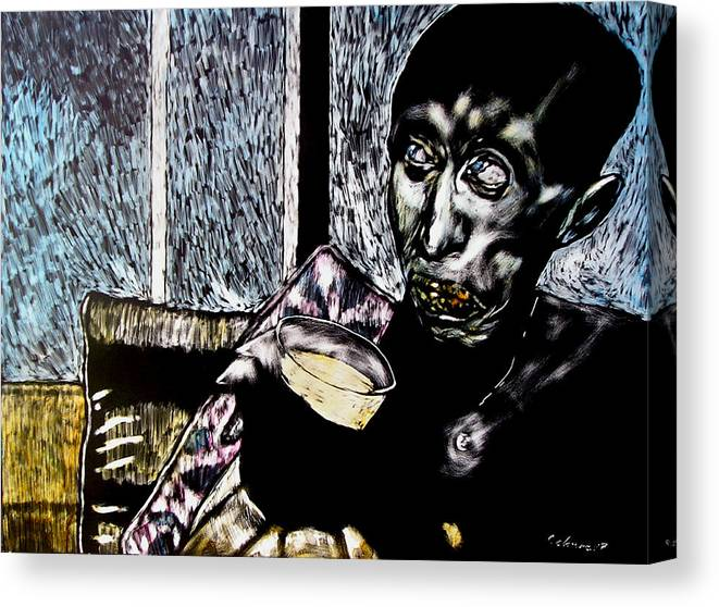 Social Commentary Canvas Print featuring the mixed media Darfu In Our Living Room by Chester Elmore