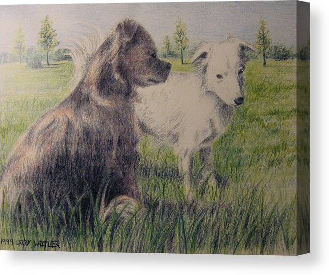 Dogs Canvas Print featuring the drawing Dogs In A Field by Larry Whitler