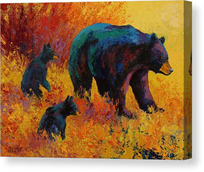 Bear Canvas Print featuring the painting Double Trouble - Black Bear Family by Marion Rose