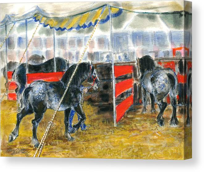 Horses Canvas Print featuring the painting Drafts At The Fair by Mary Armstrong