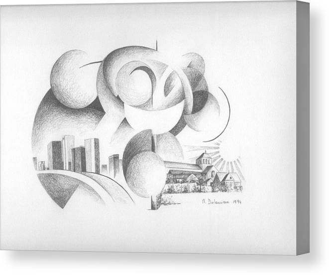 Abstract Canvas Print featuring the drawing Dualite by Muriel Dolemieux
