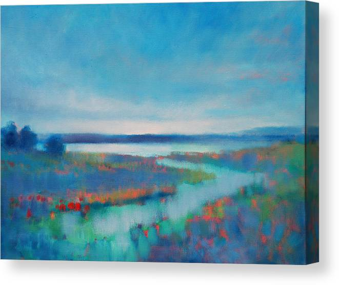 Linda Puiatti Seaside Ocean River Sunset Canvas Print featuring the painting Evening Glow by Linda Puiatti