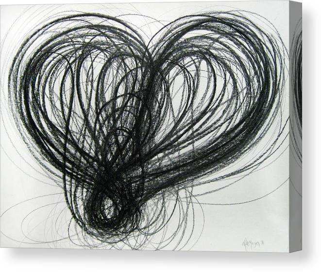 Valentines Canvas Print featuring the drawing F-e Of Hearts No. 1 by Michael Morgan